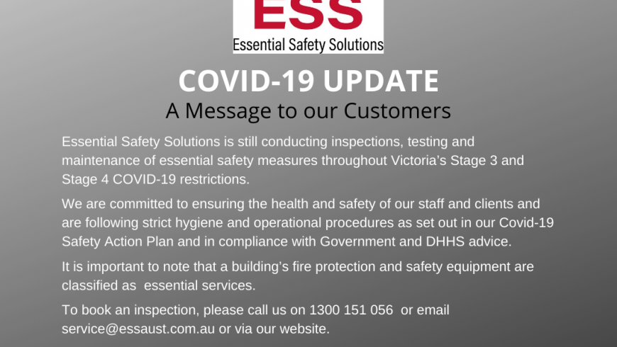 COVID-19 Message to our Customers